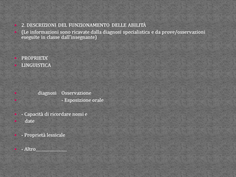 2. DESCRIZIONI DEL FUNZIONAMENTO DELLE ABILITÀ (Le informazioni sono ricavate dalla diagnosi specialistica e da prove/osservazioni eseguite in classe