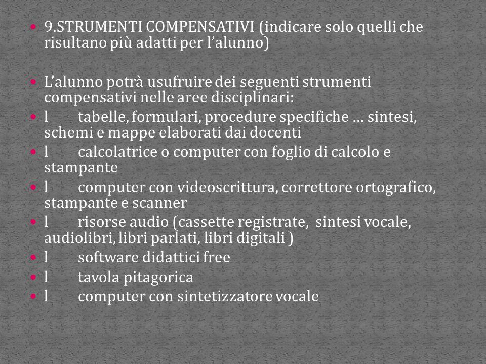 9.STRUMENTI COMPENSATIVI (indicare solo quelli che risultano più adatti per l'alunno) L'alunno potrà usufruire dei seguenti strumenti compensativi nel
