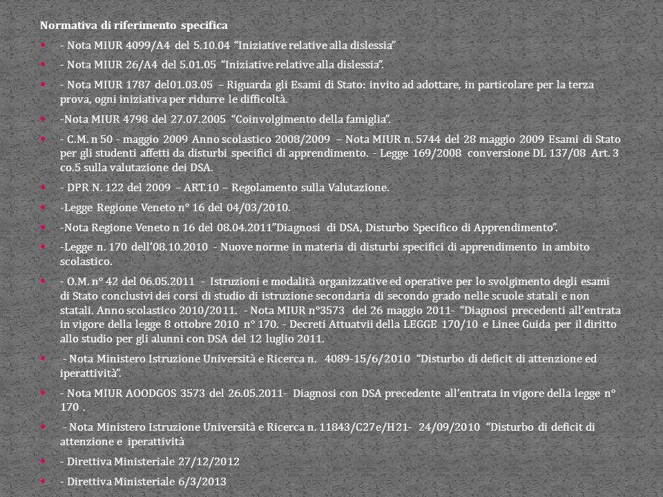 """Normativa di riferimento specifica - Nota MIUR 4099/A4 del 5.10.04 """"Iniziative relative alla dislessia"""" - Nota MIUR 26/A4 del 5.01.05 """"Iniziative rela"""