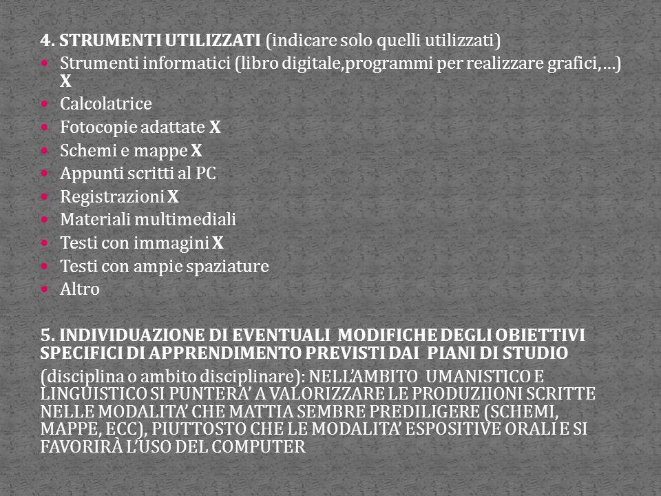 4. STRUMENTI UTILIZZATI (indicare solo quelli utilizzati) Strumenti informatici (libro digitale,programmi per realizzare grafici,…) X Calcolatrice Fot