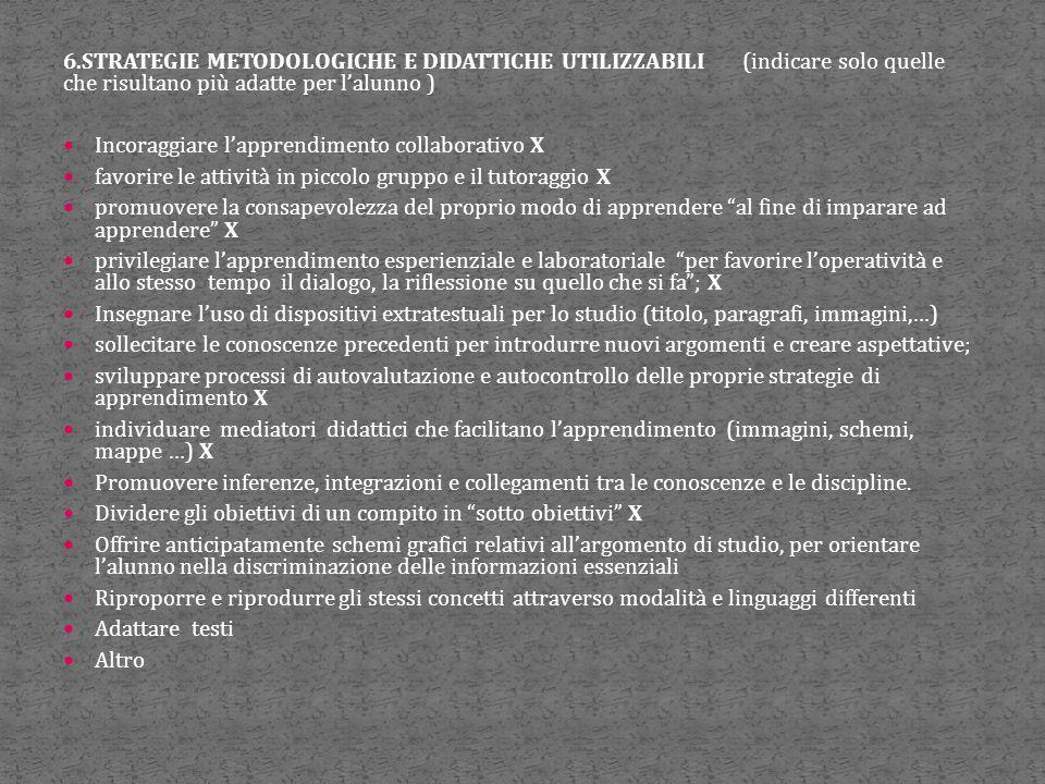 6.STRATEGIE METODOLOGICHE E DIDATTICHE UTILIZZABILI (indicare solo quelle che risultano più adatte per l'alunno ) Incoraggiare l'apprendimento collabo