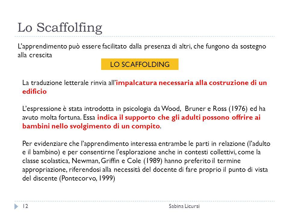 Lo Scaffolfing Sabina Licursi12 L'apprendimento può essere facilitato dalla presenza di altri, che fungono da sostegno alla crescita LO SCAFFOLDING La