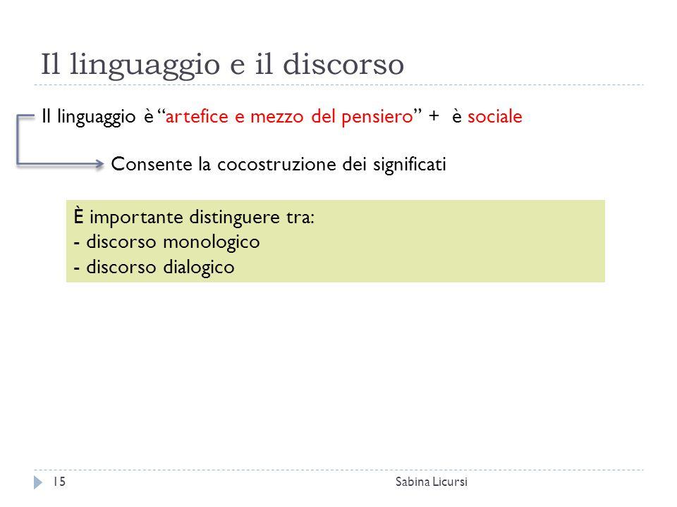 """Il linguaggio e il discorso Sabina Licursi15 Il linguaggio è """"artefice e mezzo del pensiero"""" + è sociale Consente la cocostruzione dei significati È i"""
