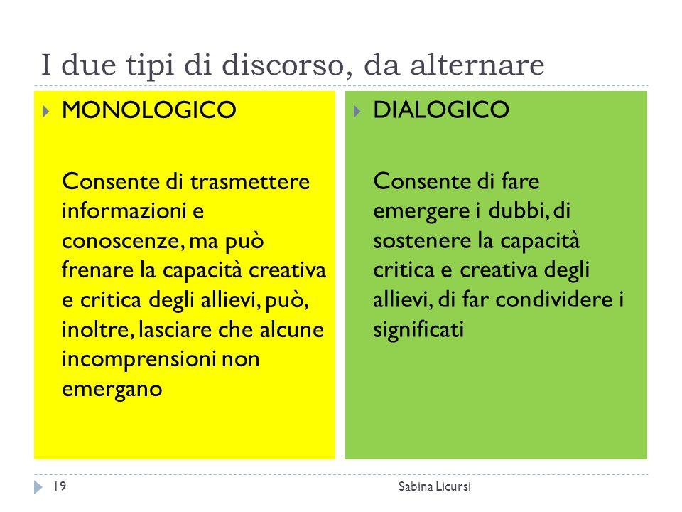 I due tipi di discorso, da alternare Sabina Licursi19  MONOLOGICO Consente di trasmettere informazioni e conoscenze, ma può frenare la capacità creat