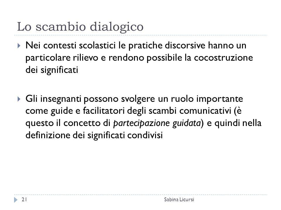 Lo scambio dialogico Sabina Licursi21  Nei contesti scolastici le pratiche discorsive hanno un particolare rilievo e rendono possibile la cocostruzio