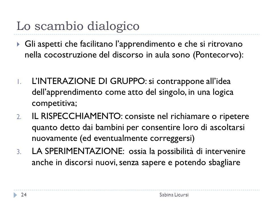 Lo scambio dialogico Sabina Licursi24  Gli aspetti che facilitano l'apprendimento e che si ritrovano nella cocostruzione del discorso in aula sono (P