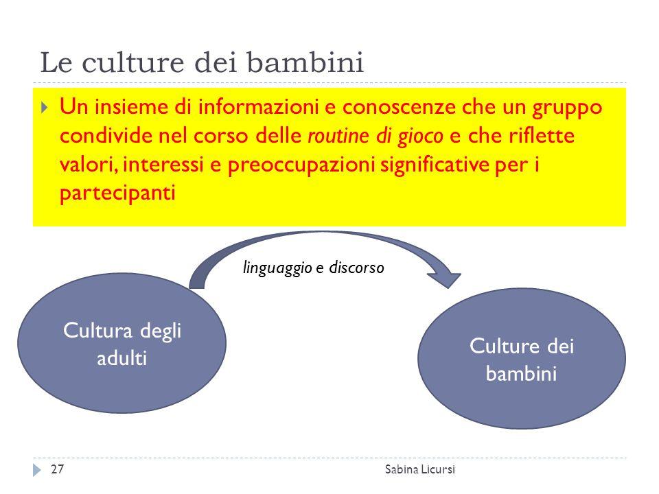 Le culture dei bambini Sabina Licursi27  Un insieme di informazioni e conoscenze che un gruppo condivide nel corso delle routine di gioco e che rifle