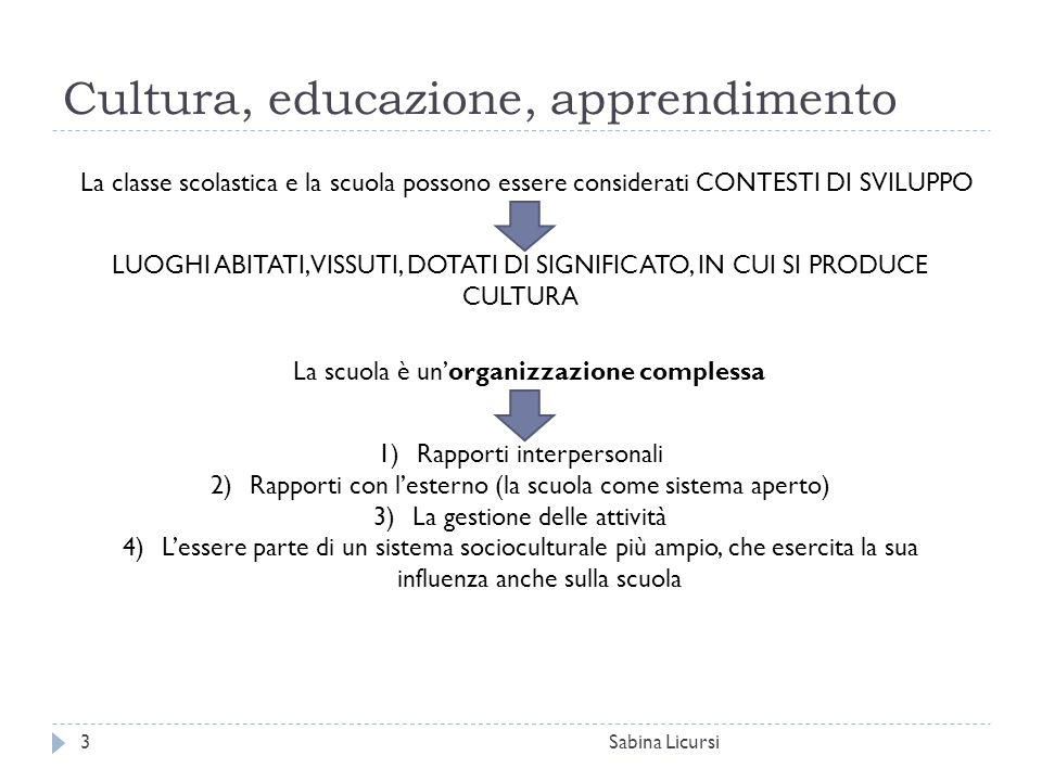 Cultura, educazione, apprendimento Sabina Licursi3 La classe scolastica e la scuola possono essere considerati CONTESTI DI SVILUPPO LUOGHI ABITATI, VI