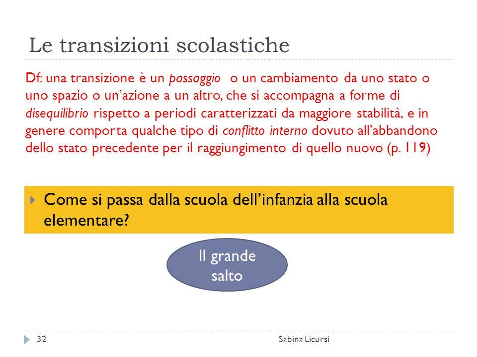 Le transizioni scolastiche Sabina Licursi32  Come si passa dalla scuola dell'infanzia alla scuola elementare? Df: una transizione è un passaggio o un