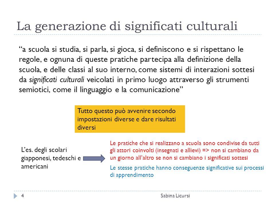 """La generazione di significati culturali Sabina Licursi4 """"a scuola si studia, si parla, si gioca, si definiscono e si rispettano le regole, e ognuna di"""