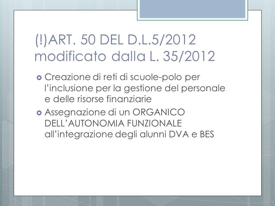 (!)ART. 50 DEL D.L.5/2012 modificato dalla L. 35/2012  Creazione di reti di scuole-polo per l'inclusione per la gestione del personale e delle risors