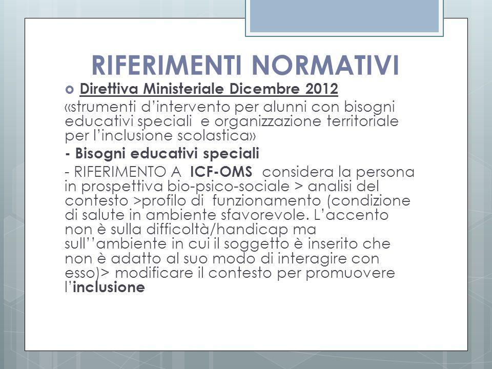 RIFERIMENTI NORMATIVI  Direttiva Ministeriale Dicembre 2012 «strumenti d'intervento per alunni con bisogni educativi speciali e organizzazione territ