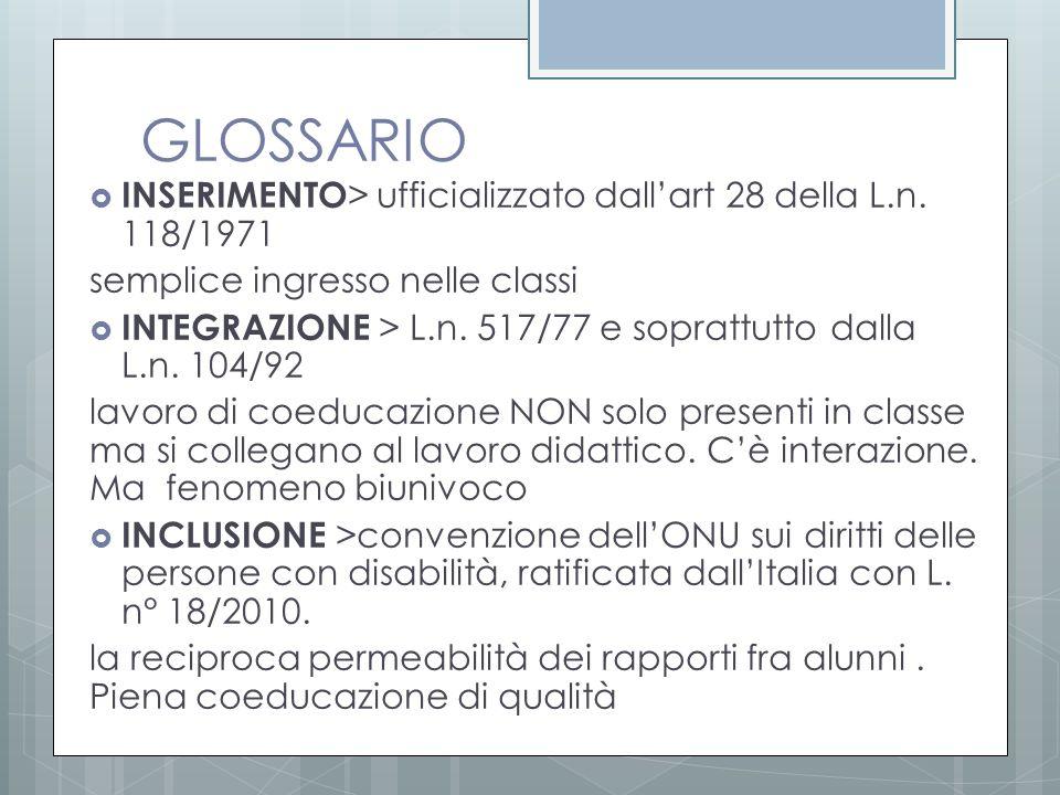 GLOSSARIO  INSERIMENTO > ufficializzato dall'art 28 della L.n. 118/1971 semplice ingresso nelle classi  INTEGRAZIONE > L.n. 517/77 e soprattutto dal