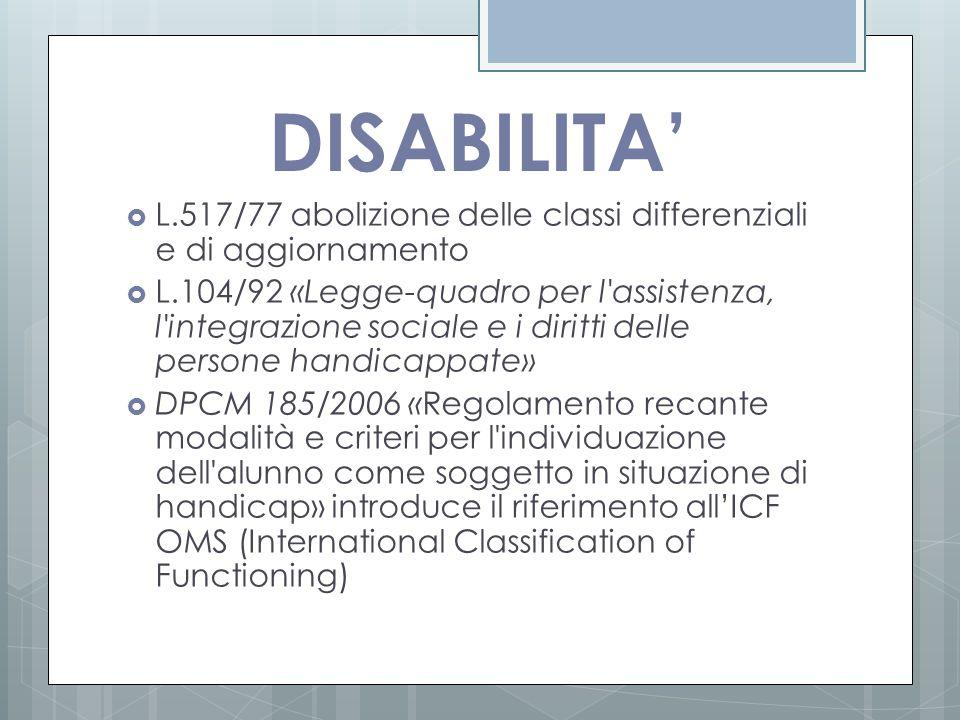 DISABILITA'  L.517/77 abolizione delle classi differenziali e di aggiornamento  L.104/92 «Legge-quadro per l'assistenza, l'integrazione sociale e i