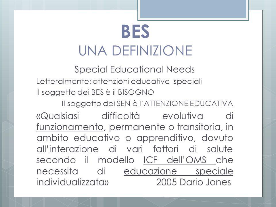 BES UNA DEFINIZIONE Special Educational Needs Letteralmente: attenzioni educative speciali Il soggetto dei BES è il BISOGNO Il soggetto dei SEN è l'AT