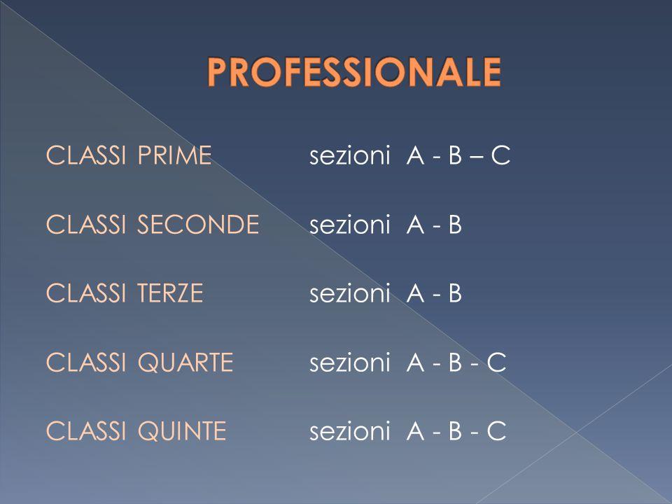 CLASSI PRIME sezioni A - B – C CLASSI SECONDE sezioni A - B CLASSI TERZE sezioni A - B CLASSI QUARTE sezioni A - B - C CLASSI QUINTE sezioni A - B - C
