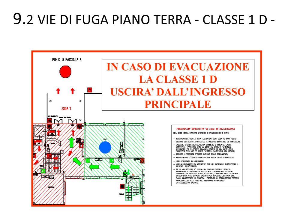 9. 2 VIE DI FUGA PIANO TERRA - CLASSE 1 D -
