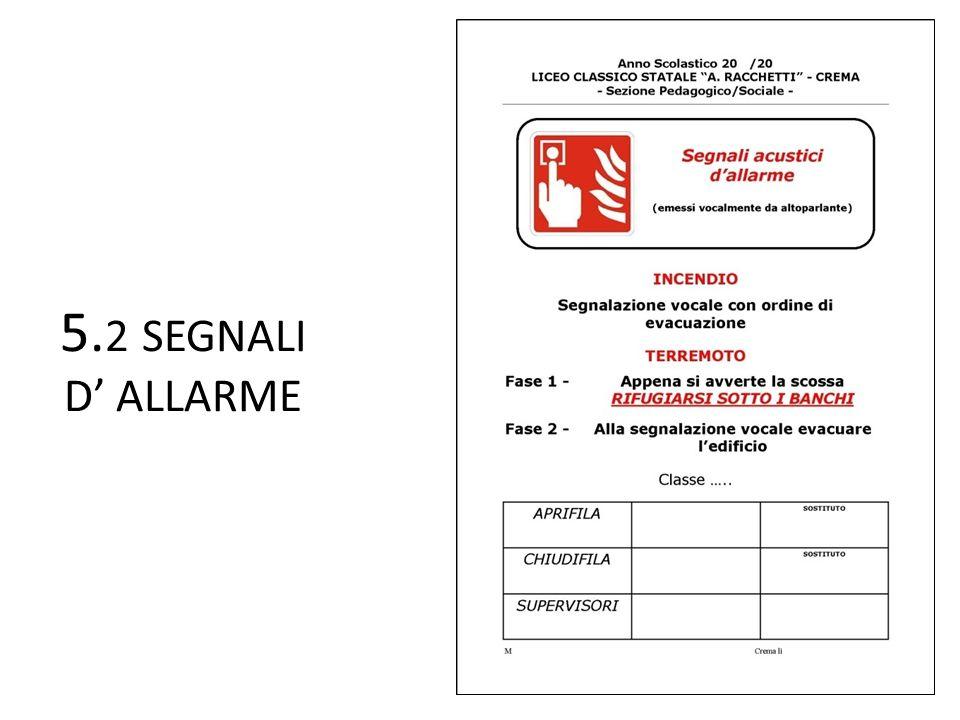 5. 2 SEGNALI D' ALLARME