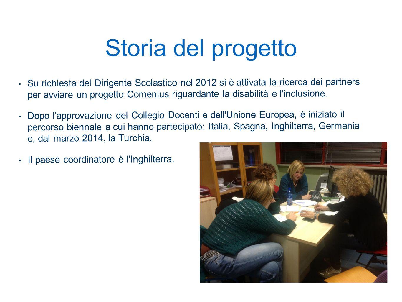 Storia del progetto Su richiesta del Dirigente Scolastico nel 2012 si è attivata la ricerca dei partners per avviare un progetto Comenius riguardante la disabilità e l inclusione.