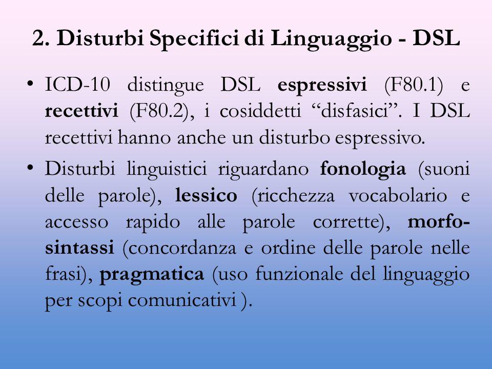 """2. Disturbi Specifici di Linguaggio - DSL ICD-10 distingue DSL espressivi (F80.1) e recettivi (F80.2), i cosiddetti """"disfasici"""". I DSL recettivi hanno"""