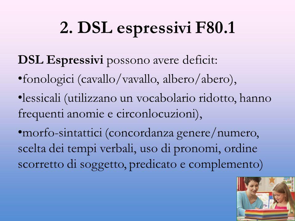 2. DSL espressivi F80.1 DSL Espressivi possono avere deficit: fonologici (cavallo/vavallo, albero/abero), lessicali (utilizzano un vocabolario ridotto