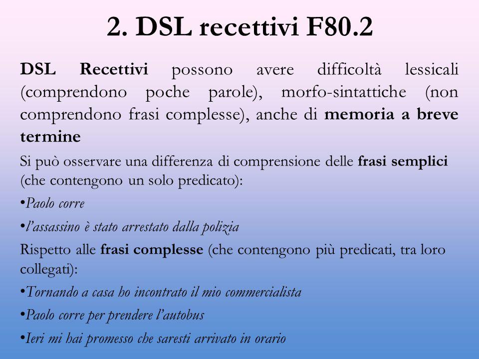 2. DSL recettivi F80.2 DSL Recettivi possono avere difficoltà lessicali (comprendono poche parole), morfo-sintattiche (non comprendono frasi complesse
