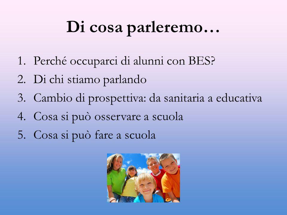 Di cosa parleremo… 1.Perché occuparci di alunni con BES? 2.Di chi stiamo parlando 3.Cambio di prospettiva: da sanitaria a educativa 4.Cosa si può osse
