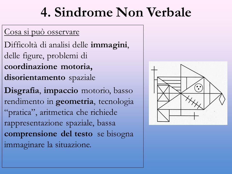 4. Sindrome Non Verbale Cosa si può osservare Difficoltà di analisi delle immagini, delle figure, problemi di coordinazione motoria, disorientamento s