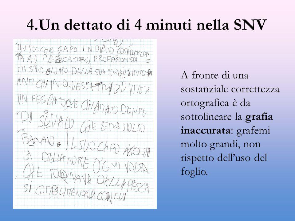 4.Un dettato di 4 minuti nella SNV A fronte di una sostanziale correttezza ortografica è da sottolineare la grafia inaccurata: grafemi molto grandi, non rispetto dell'uso del foglio.