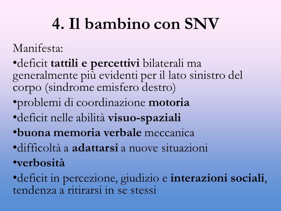 4. Il bambino con SNV Manifesta: deficit tattili e percettivi bilaterali ma generalmente più evidenti per il lato sinistro del corpo (sindrome emisfer
