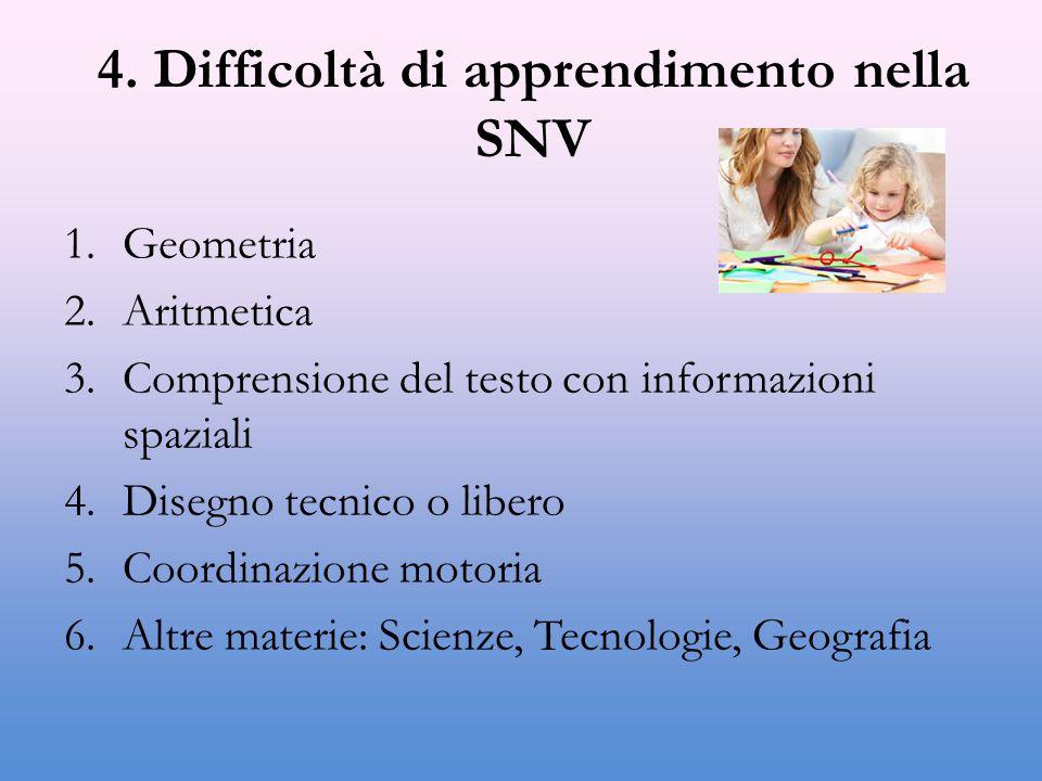 4. Difficoltà di apprendimento nella SNV 1.Geometria 2.Aritmetica 3.Comprensione del testo con informazioni spaziali 4.Disegno tecnico o libero 5.Coor