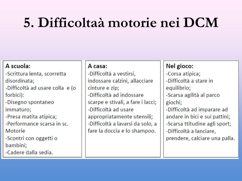 5. Difficoltaà motorie nei DCM