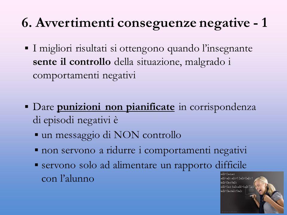 6. Avvertimenti conseguenze negative - 1  I migliori risultati si ottengono quando l'insegnante sente il controllo della situazione, malgrado i compo