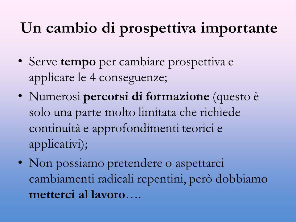 Un cambio di prospettiva importante Serve tempo per cambiare prospettiva e applicare le 4 conseguenze; Numerosi percorsi di formazione (questo è solo