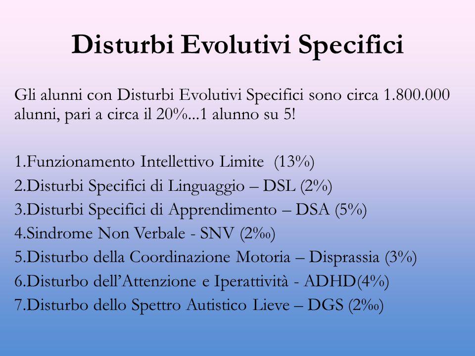 Disturbi Evolutivi Specifici Gli alunni con Disturbi Evolutivi Specifici sono circa 1.800.000 alunni, pari a circa il 20%...1 alunno su 5.