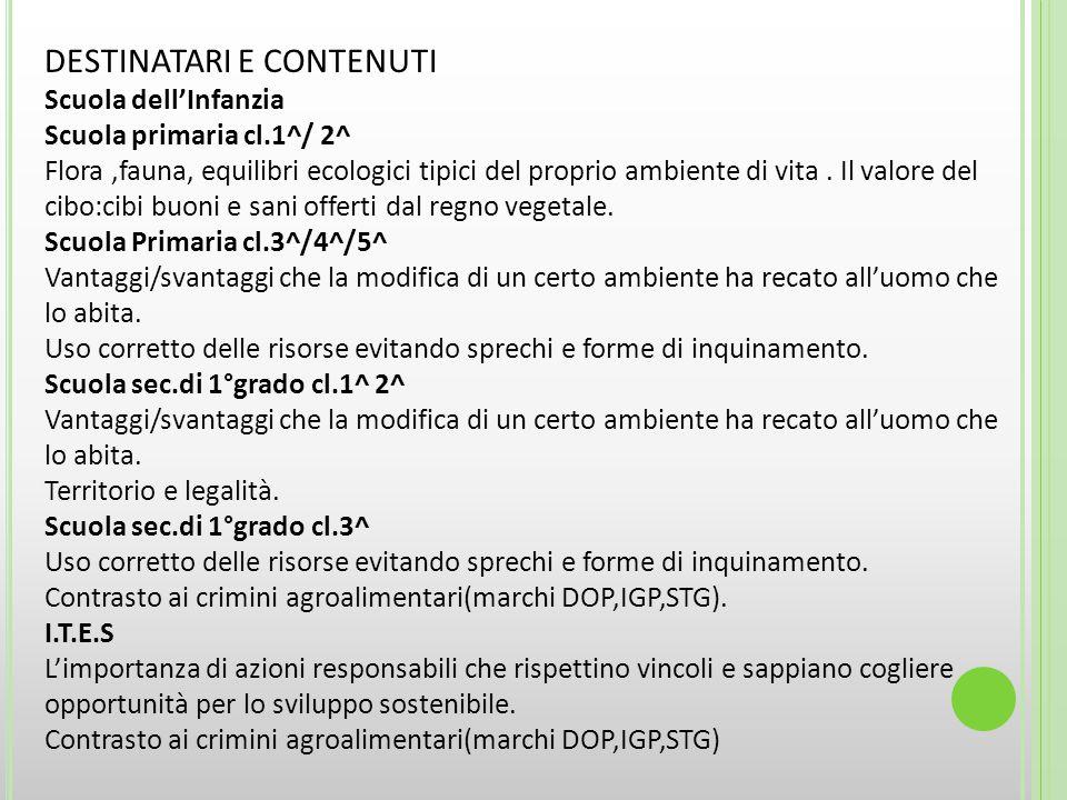 DESTINATARI E CONTENUTI Scuola dell'Infanzia Scuola primaria cl.1^/ 2^ Flora,fauna, equilibri ecologici tipici del proprio ambiente di vita.