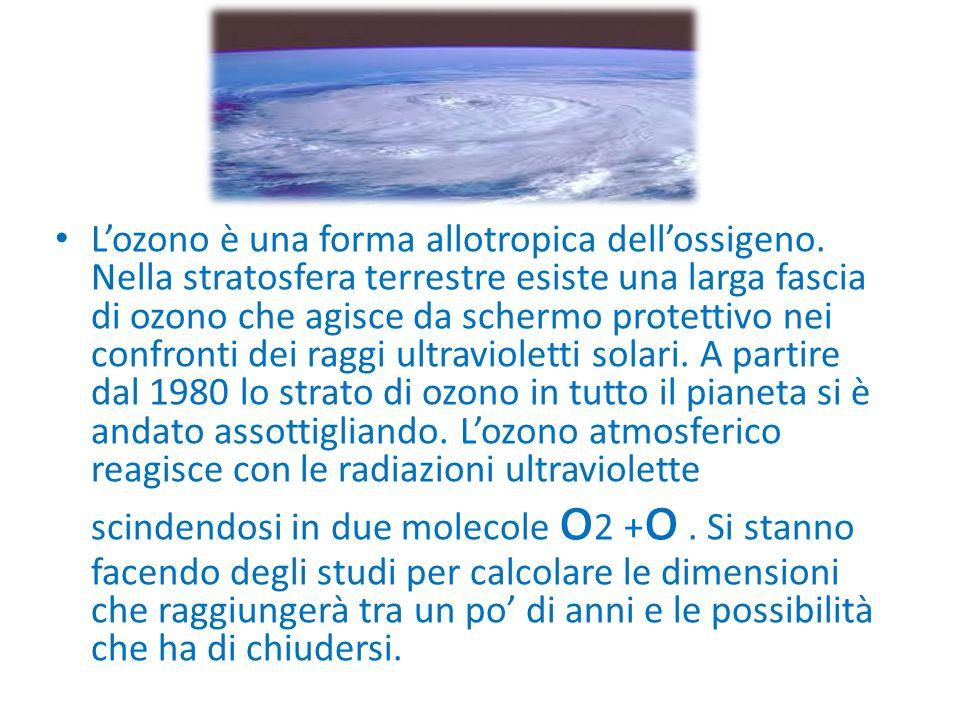 L'ozono è una forma allotropica dell'ossigeno. Nella stratosfera terrestre esiste una larga fascia di ozono che agisce da schermo protettivo nei confr