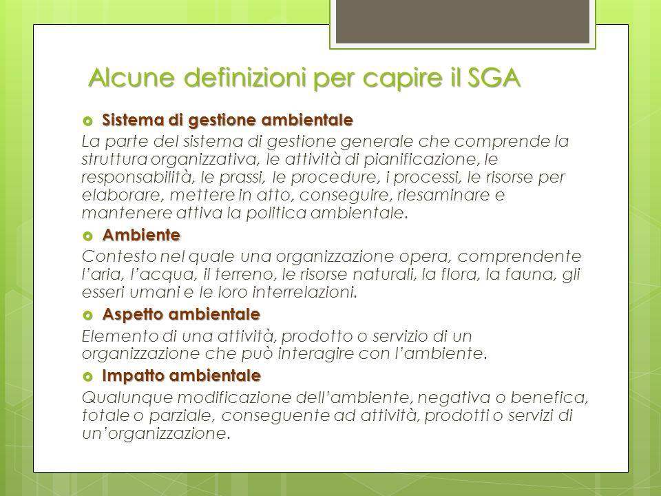  Sistema di gestione ambientale La parte del sistema di gestione generale che comprende la struttura organizzativa, le attività di pianificazione, le