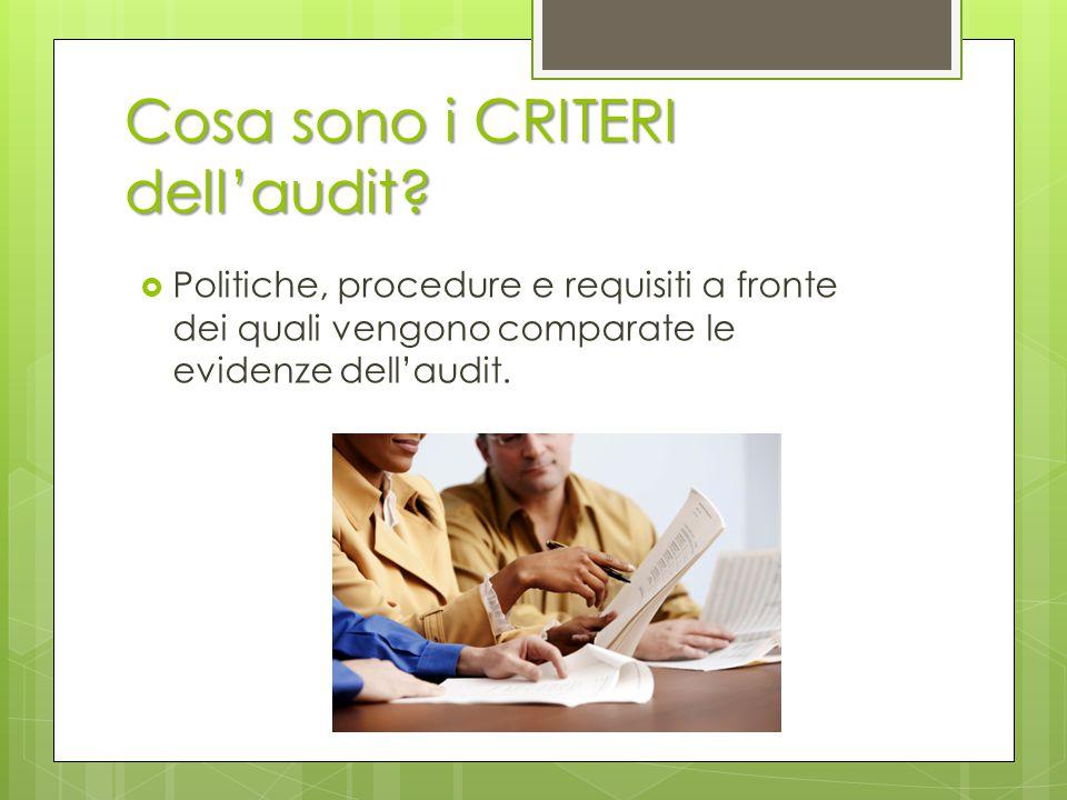 Cosa sono i CRITERI dell'audit?  Politiche, procedure e requisiti a fronte dei quali vengono comparate le evidenze dell'audit.