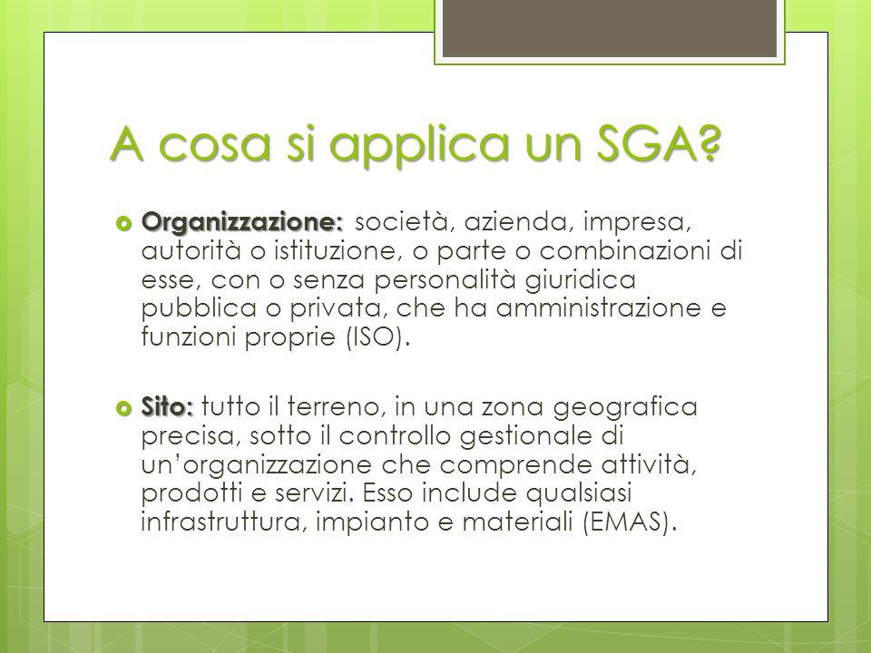 A cosa si applica un SGA?  Organizzazione:  Organizzazione: società, azienda, impresa, autorità o istituzione, o parte o combinazioni di esse, con o