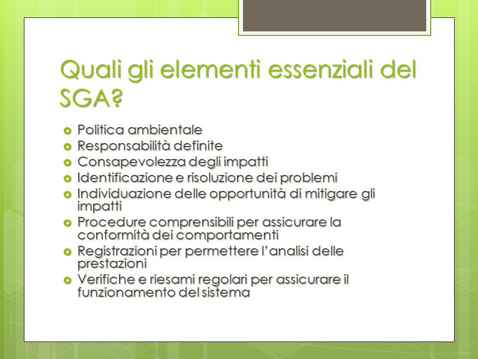 Quali gli elementi essenziali del SGA?  Politica ambientale  Responsabilità definite  Consapevolezza degli impatti  Identificazione e risoluzione
