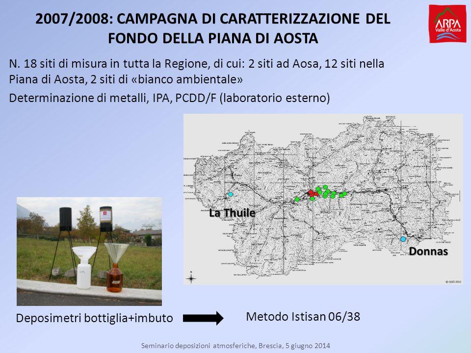Seminario deposizioni atmosferiche, Brescia, 5 giugno 2014 2007/2008: CAMPAGNA DI CARATTERIZZAZIONE DEL FONDO DELLA PIANA DI AOSTA N.