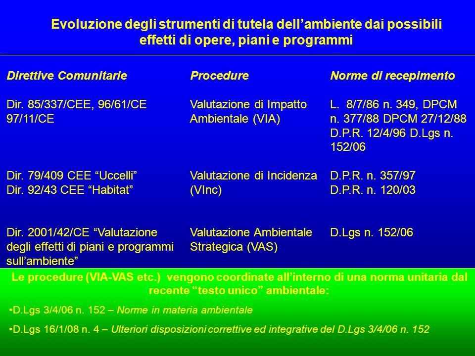 Le procedure (VIA-VAS etc.) vengono coordinate all'interno di una norma unitaria dal recente testo unico ambientale: D.Lgs 3/4/06 n.