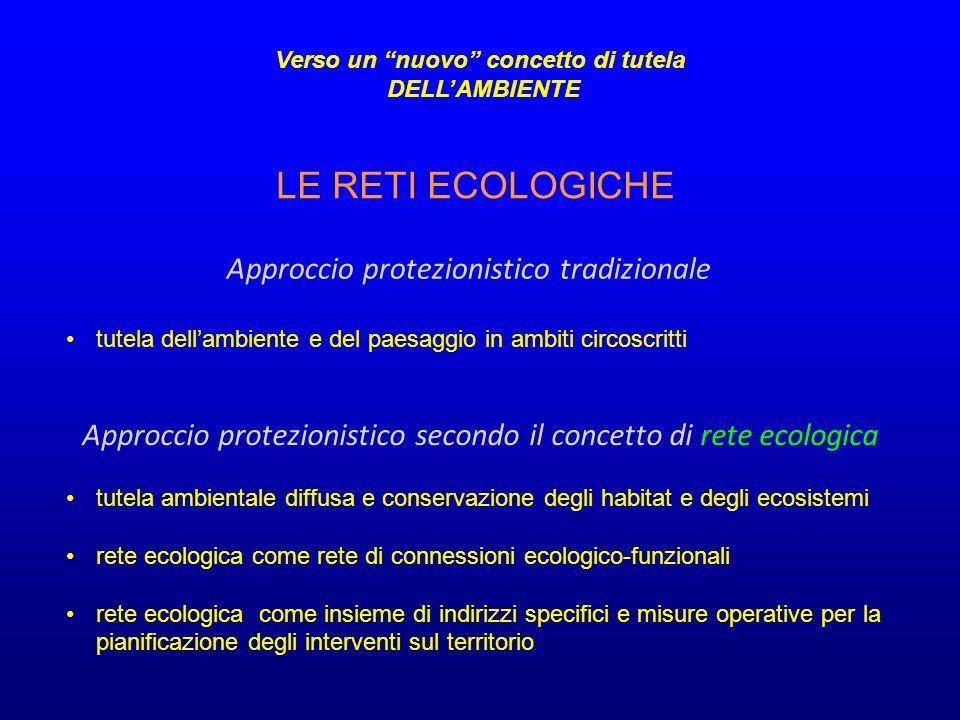tutela dell'ambiente e del paesaggio in ambiti circoscritti Approccio protezionistico tradizionale Approccio protezionistico secondo il concetto di re