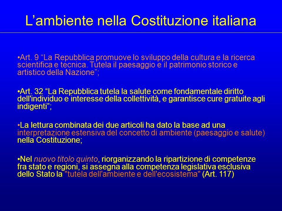 Funzioni dello Stato e delle Regioni in materia ambientale Costituzione della Repubblica Italiana - TITOLO V - Art.