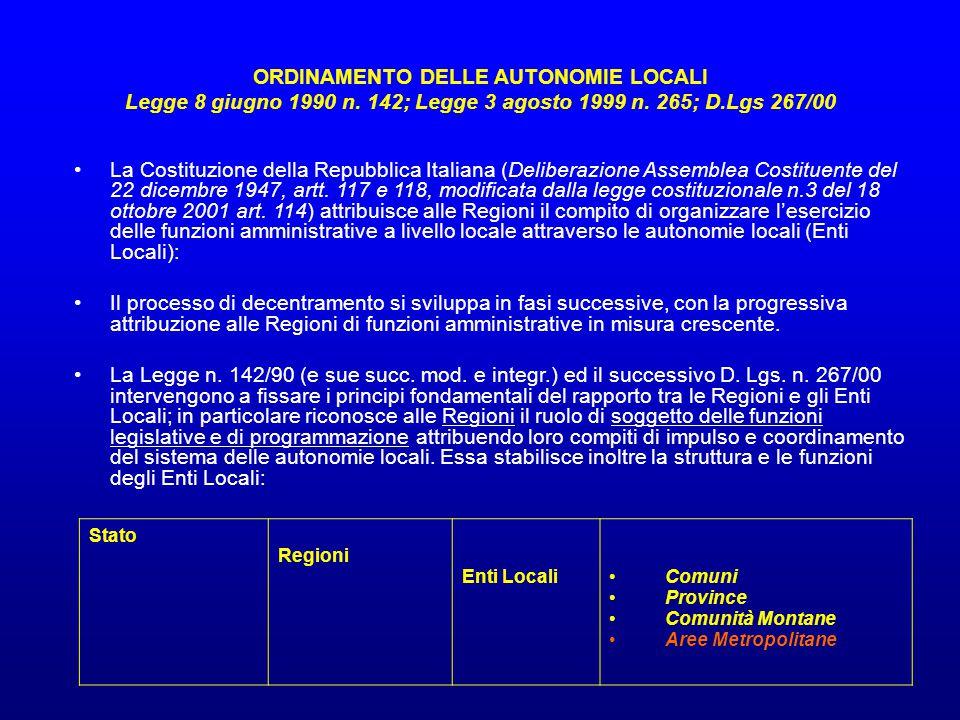 ORDINAMENTO DELLE AUTONOMIE LOCALI Legge 8 giugno 1990 n. 142; Legge 3 agosto 1999 n. 265; D.Lgs 267/00 La Costituzione della Repubblica Italiana (Del