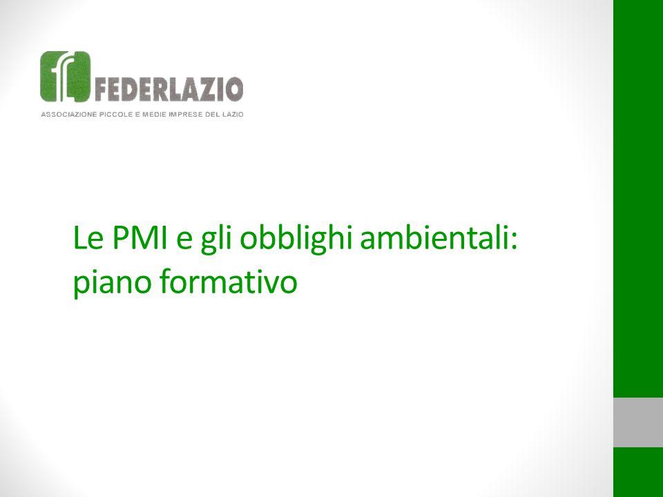 Il piano formativo  Finalità Illustrare gli adempimenti normativi applicabili alle imprese per gli aspetti ambientali di interesse.