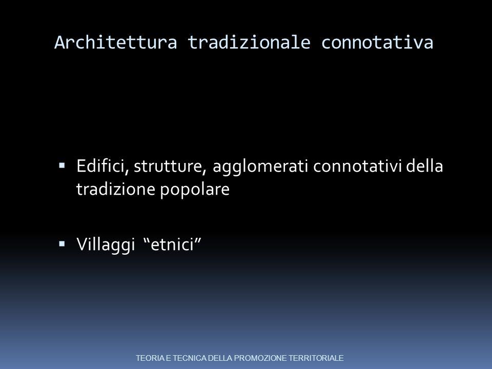 Architettura tradizionale connotativa  Edifici, strutture, agglomerati connotativi della tradizione popolare  Villaggi etnici TEORIA E TECNICA DELLA PROMOZIONE TERRITORIALE