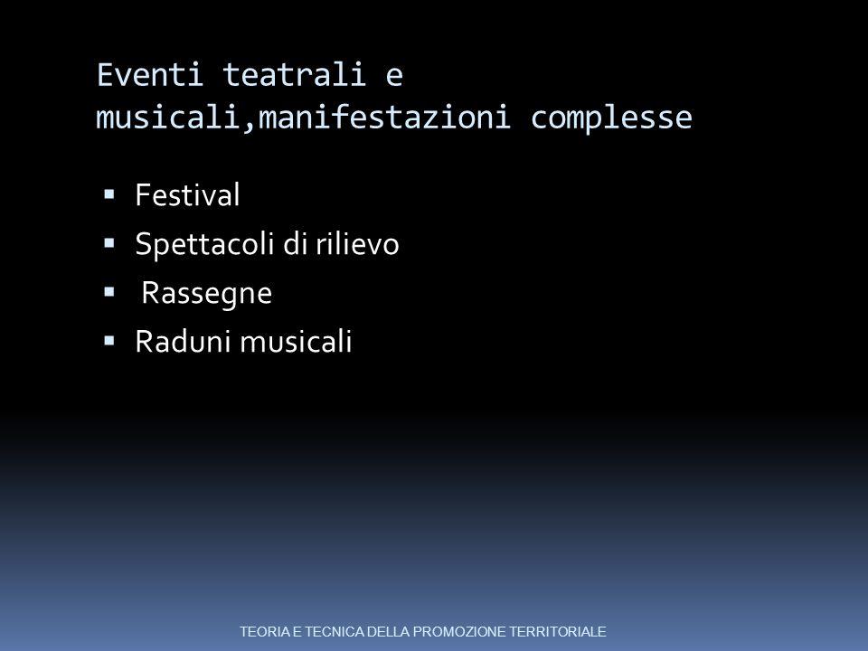 Eventi teatrali e musicali,manifestazioni complesse  Festival  Spettacoli di rilievo  Rassegne  Raduni musicali TEORIA E TECNICA DELLA PROMOZIONE TERRITORIALE