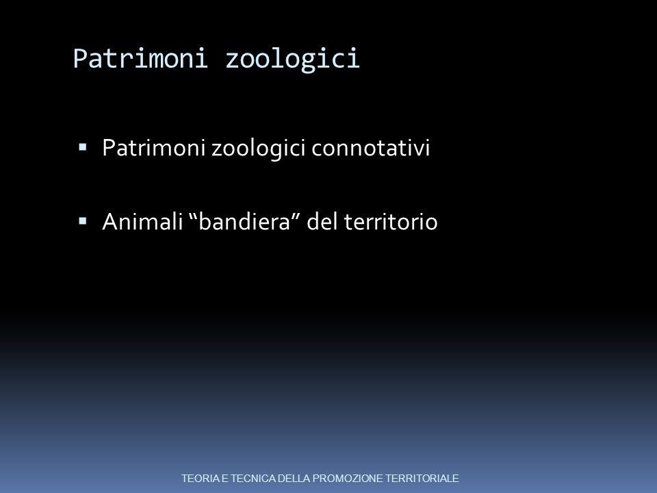 Patrimoni zoologici  Patrimoni zoologici connotativi  Animali bandiera del territorio TEORIA E TECNICA DELLA PROMOZIONE TERRITORIALE